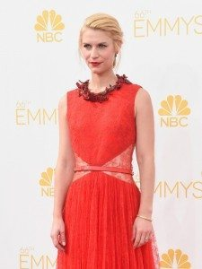 Claire Danes wore a red high necked dress from the designer Givenchy.