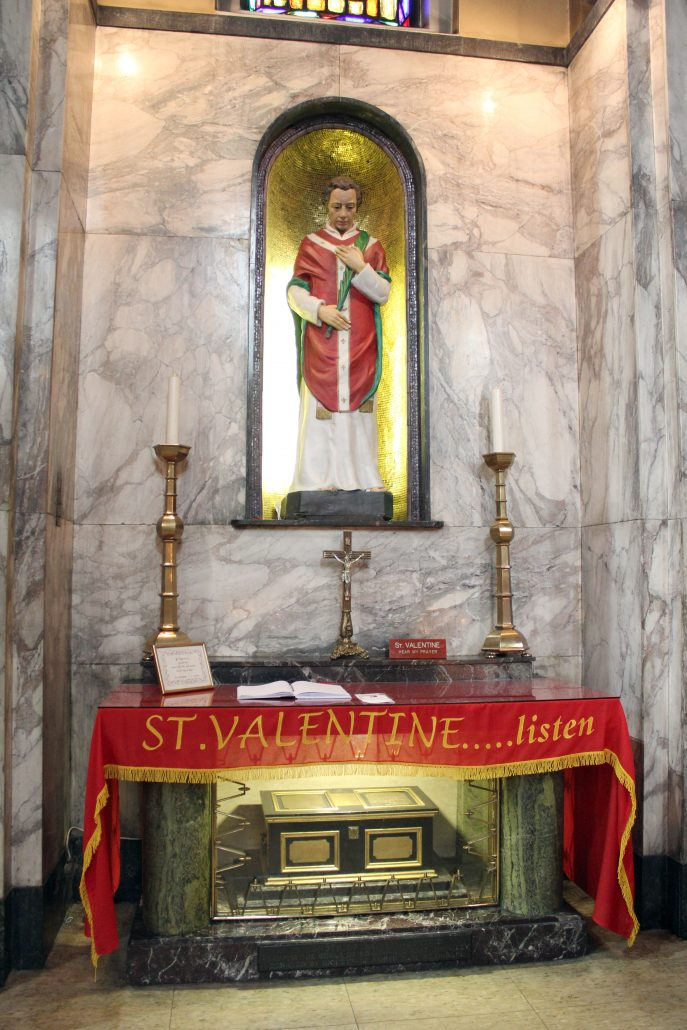 St Valentine's statue, altar and relics