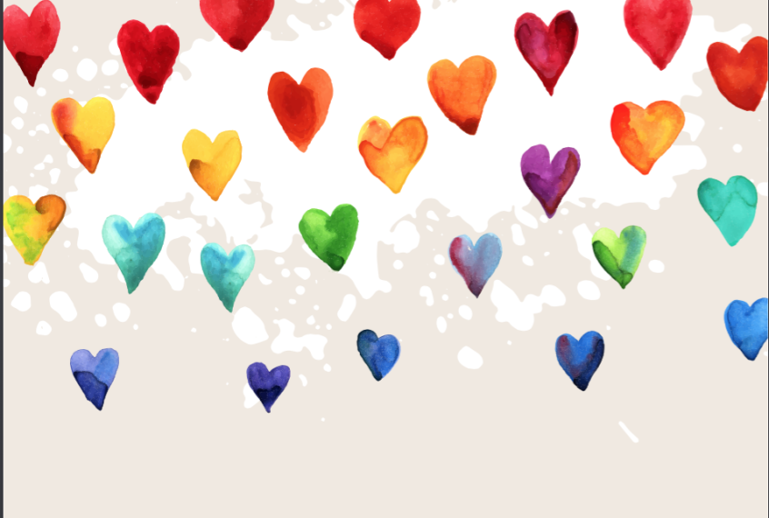 Watercolour hearts.