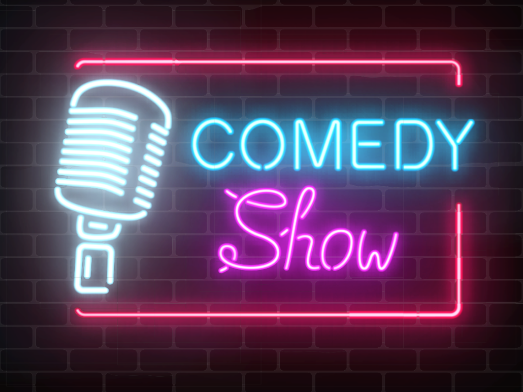 Neon comedy show sign with microphone.