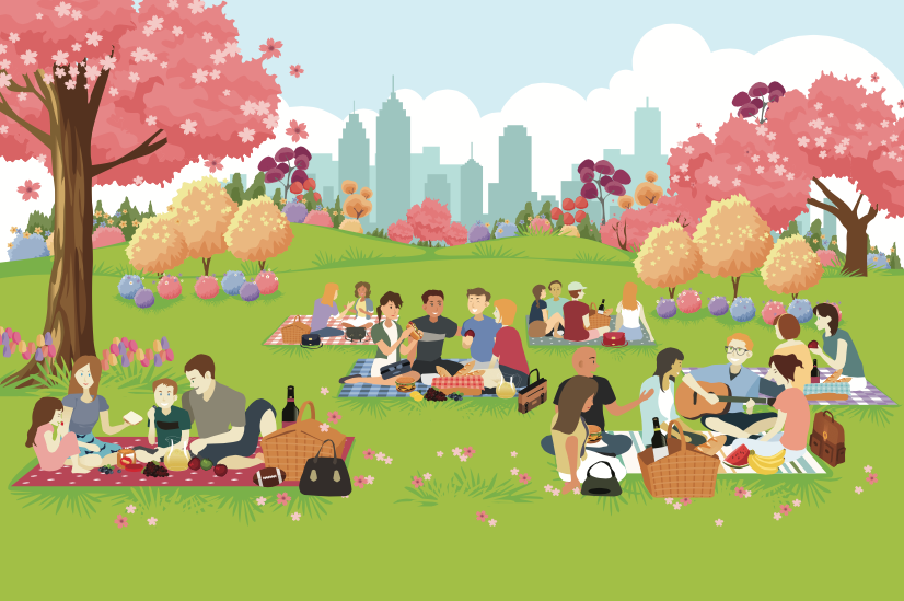 People enjoying picnics in the park.