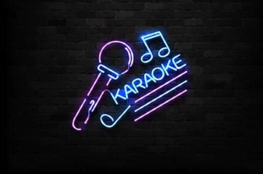 Neon karaoke sign.