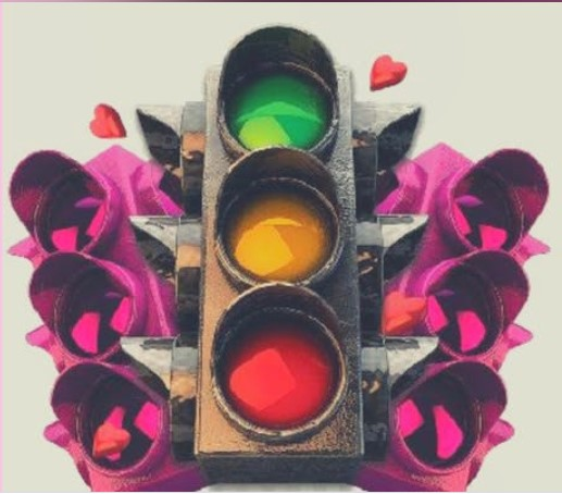 Traffic lights and hearts.